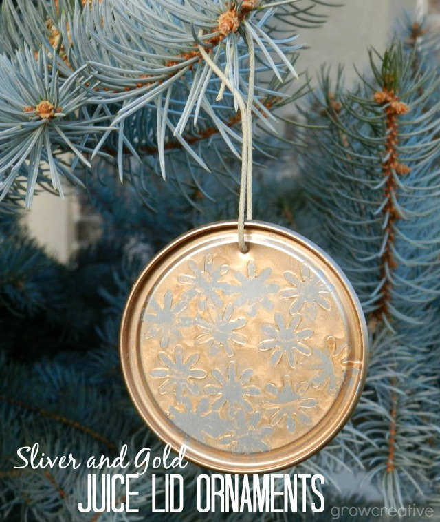 Recycled Christmas Craft- make ornaments from juice lids, paper, and spray paint: Grow Creative
