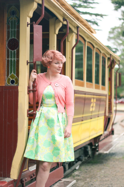 Liana of Finding Femme at the Ballarat Tramway Museum in Review Australia dress and cardigan.