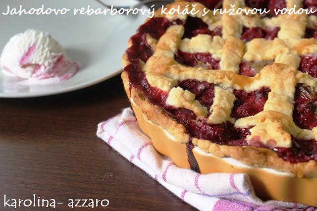Jahodovo rebarborový koláč s ružovou vodou