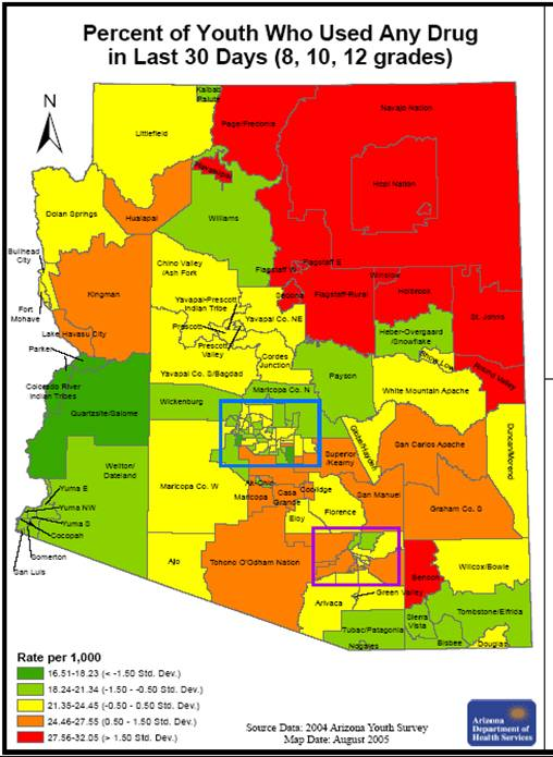Arizona County Map Area  County Map Regional City