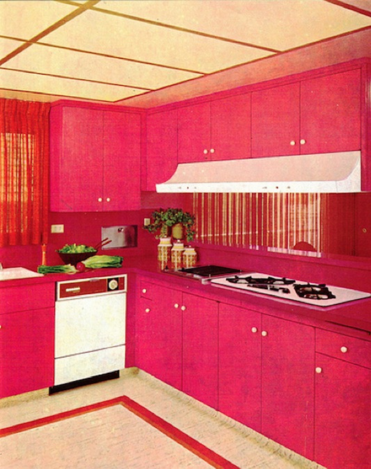 Leaves you wanting more 1970s decor to die for for Kitchen decoration pink