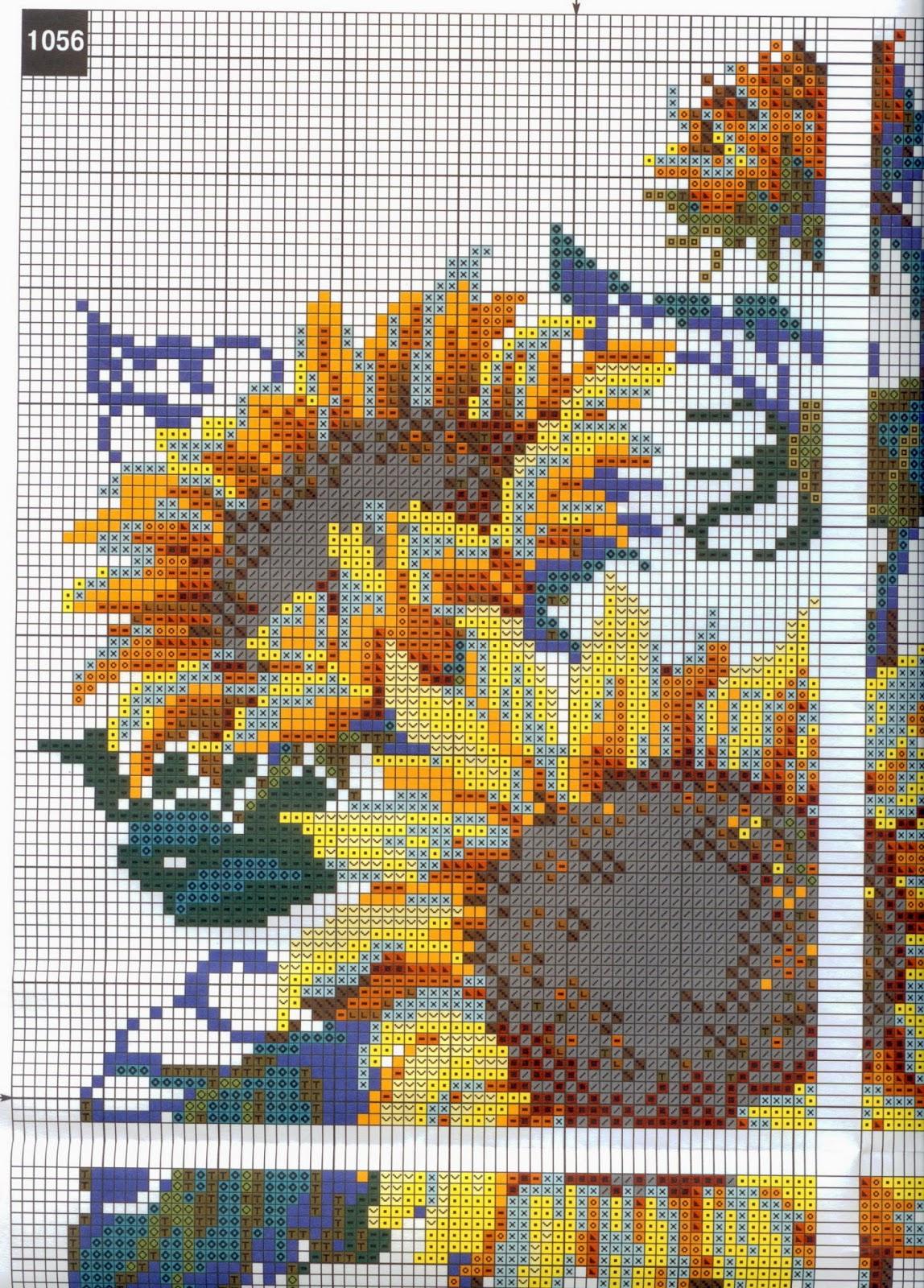 вышивка крестом схемы подсолнухов для часов