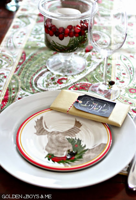 Target melamine Christmas plate and chocolate bar favor-www.goldenboysandme.com