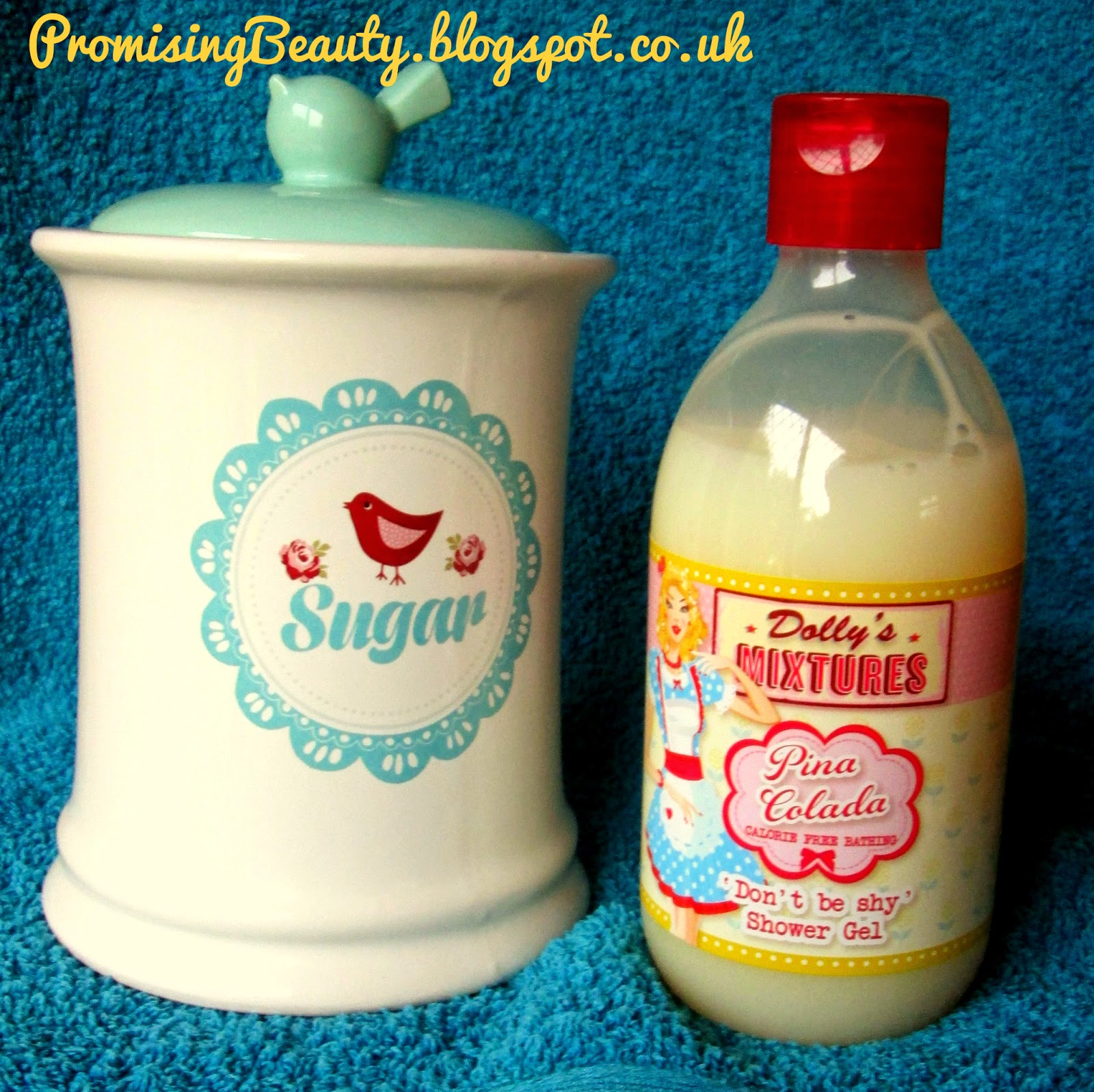 Sugar jar, dollys mixtures shower gel bubble bath, pina colada