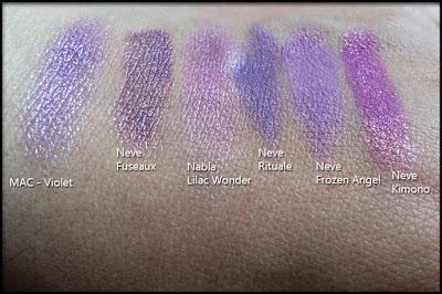 Nabla Cosmetics - Butterfly Valley - Confronto tra Lilac Wonder di Nabla Cosmetics, il pigmento Violet di MAC Cosmetics, gli ombretti minerali Fuseaux, Rituale, Frozen Angel e Kimono di Neve Cosmetics