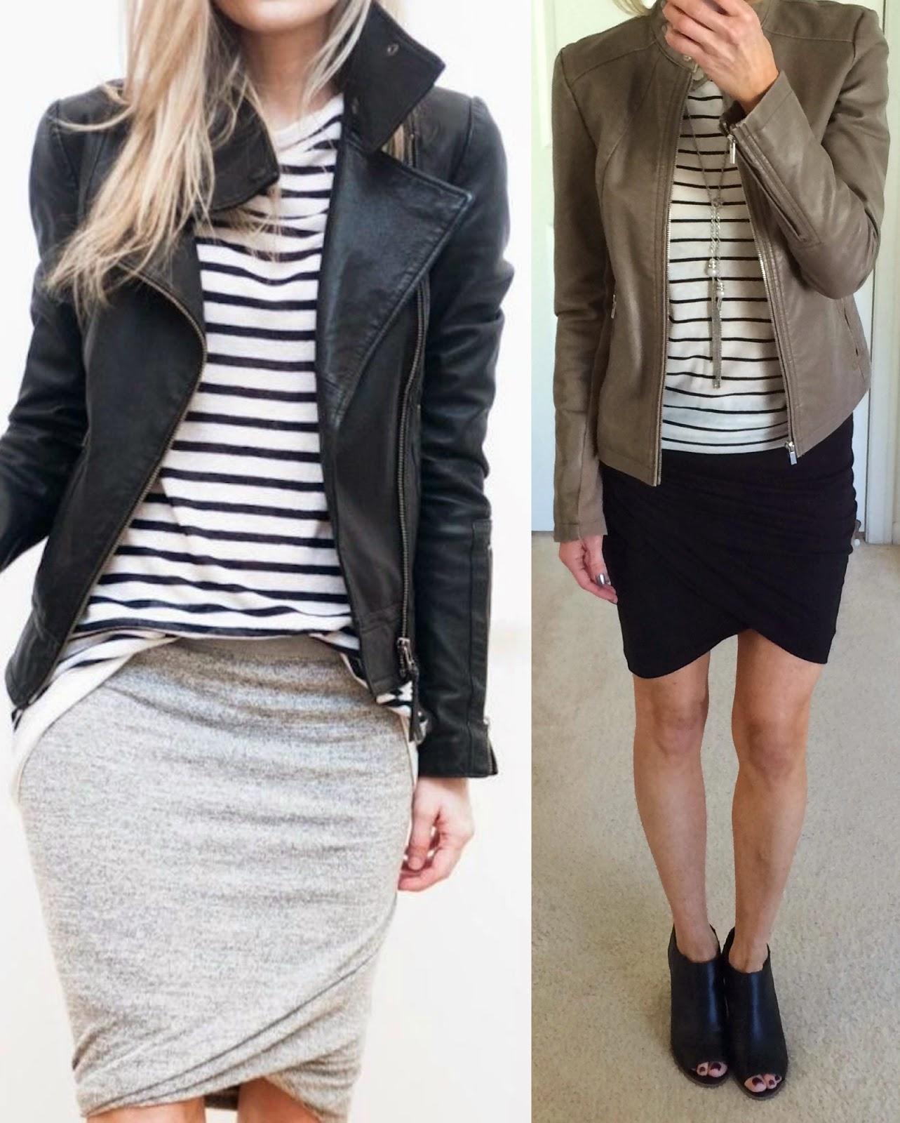 Striped tee, wrap mini skirt