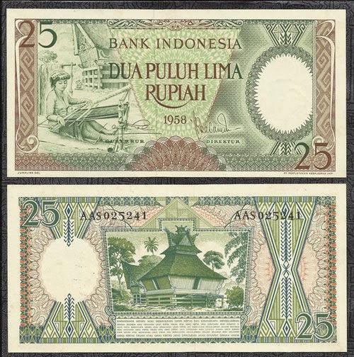 uang kuno Seri pekerja tangan tahun 1958 pecahan 25 rupiah