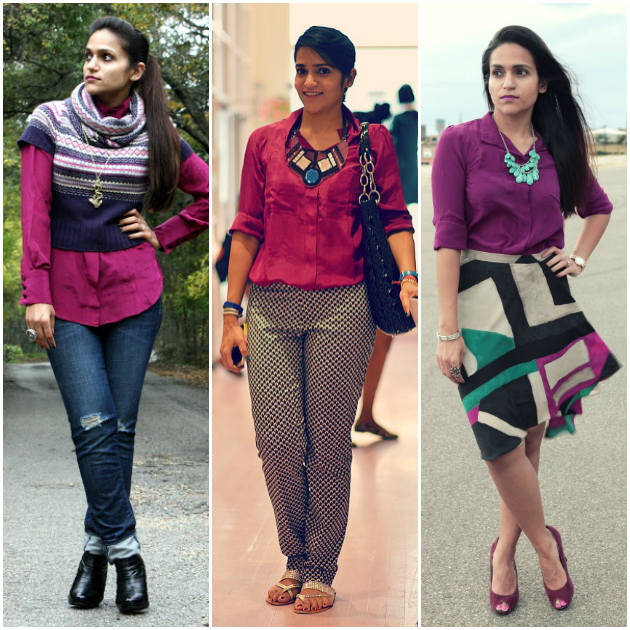 Three Ways To Wear Burgundy Button Down, Tanvii.com