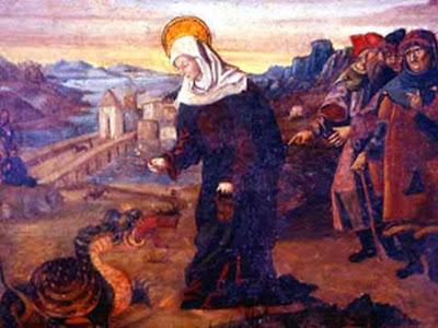 Santa Marta venciendo al Dragon con Agua Bendita