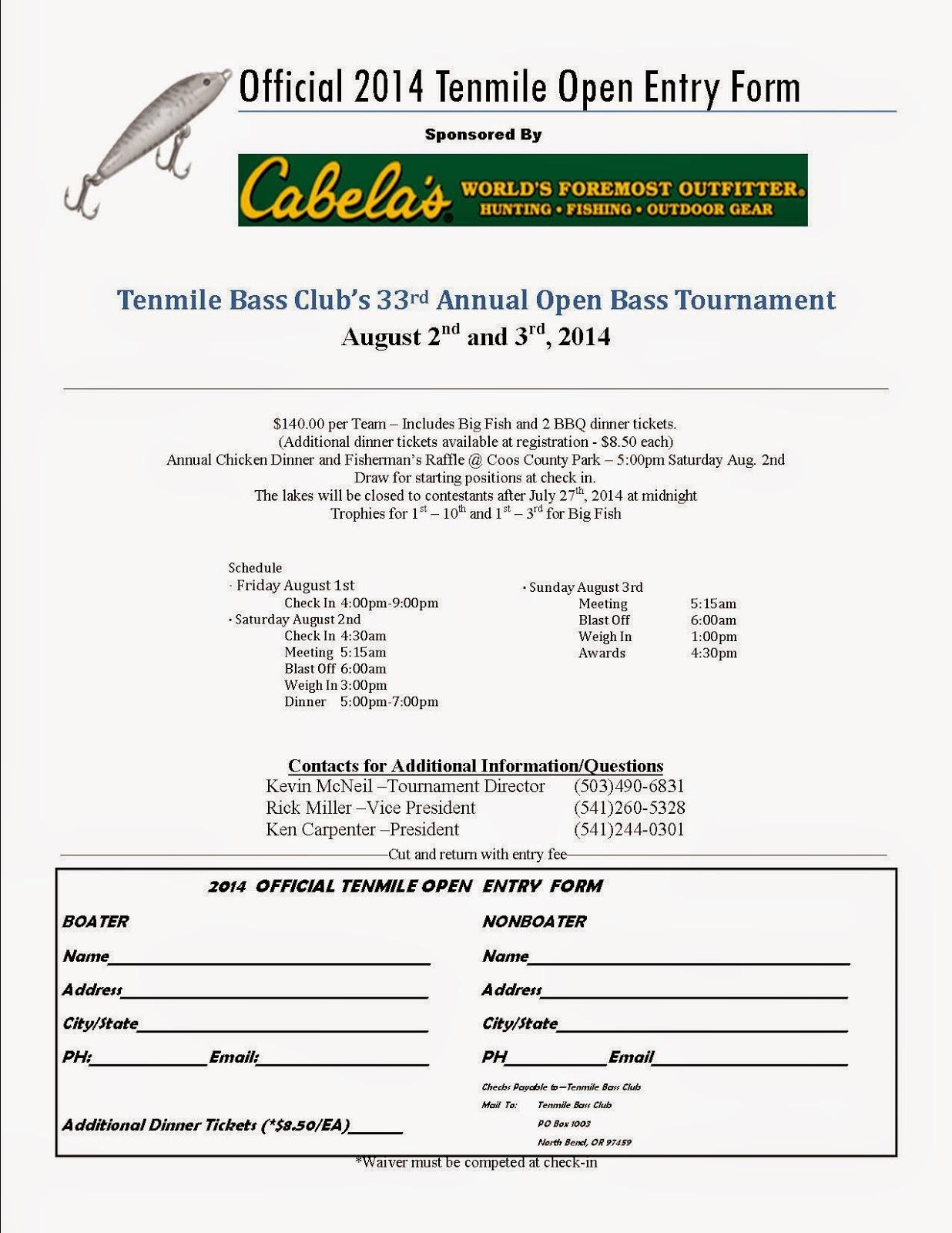 Tenmile Bass Club: 2014 - Tenmile Open