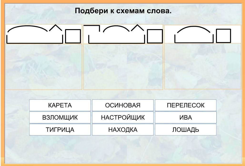 Напиши слова по схемам приставка корень окончание