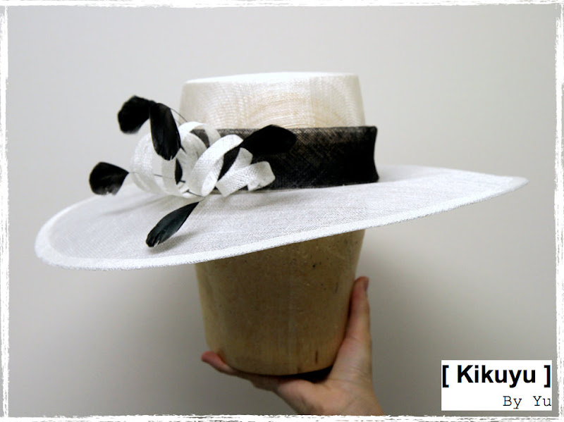 Sinamay hat with feathers