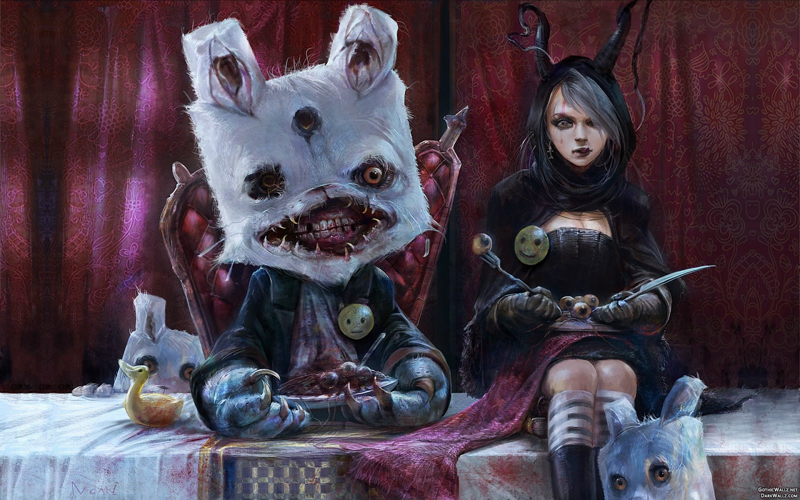 Creepy girl with her scary teddy beer | Dark Gothic Wallpaper Download