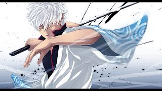 Gintoki Sakata Gintama Anime Samurai Katana White Hair HD Wallpaper Desktop PC Background 1322
