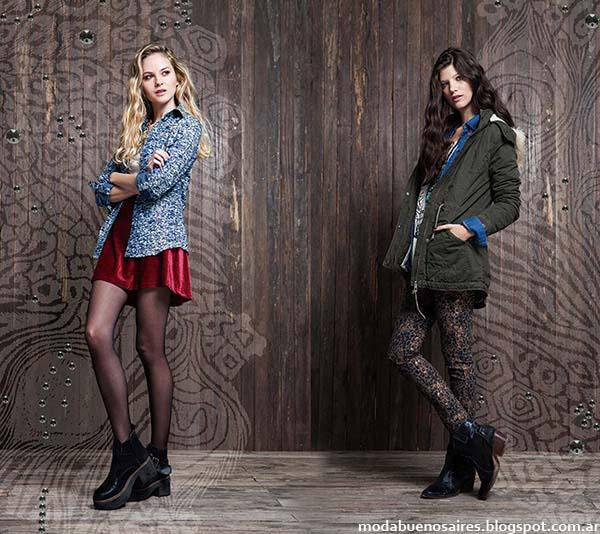 Moda otoño invierno 2014 colección Rimmel. Camisas estampadas, vestidos cortos de terciopelo, pantalones estampados, camperas cazadoras de mujer, moda invierno 2014.