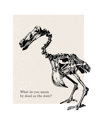 humorous poster with dodo bird skeleton