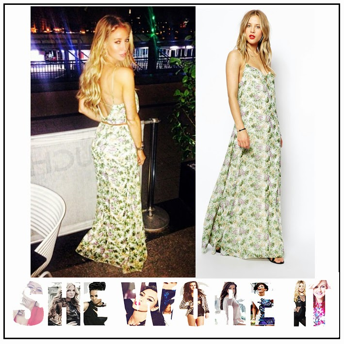 ASOS, Back Detail, Dress, Floral Print, Lauren Pope, Leaf Print, Low back, Maxi Dress, Multicoloured, Palm Tree Print, Scoop Neck, Sleeveless, Strap Detail, The Only Way Is Essex, TOWIE, Tropical Print, V Back,