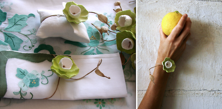 Bracciale segnaposto con fiori di carta per matrimonio. Wedding paper statement jewelry