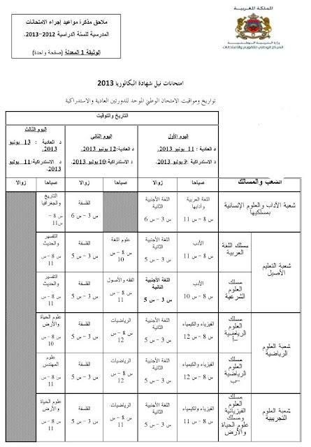 تواريخ ومواقيت الامتحان الوطني الموحد لنيل شهادة الباكالوريا لسنة  2013