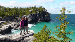 Liz and Anders on the rocky coast line of Bruce Peninsula National Park