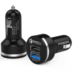 MoKo 30W 2-Port Quick Charge 2.0 Technology USB Car Charger, Smart USB Power Adapter Fast Dual Port Car Charger With Auto Detect Technology for Android Devices and More