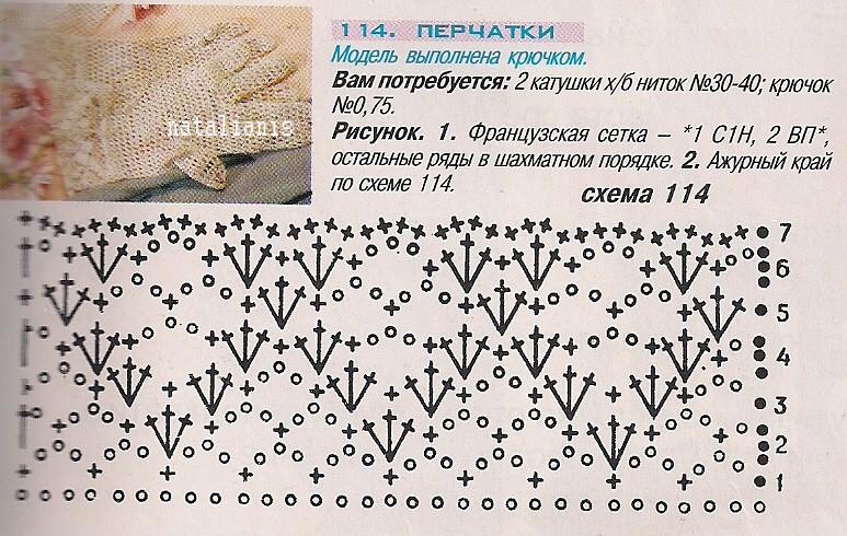 Схемы ажурных перчаток вязание крючком 76