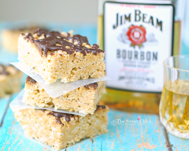 Bourbon Biscoff Krispie Squares by The Sweet Chick