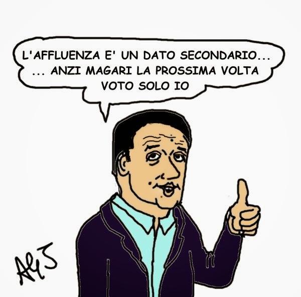Renzi, affluenza, elezioni emilia romagna, satira
