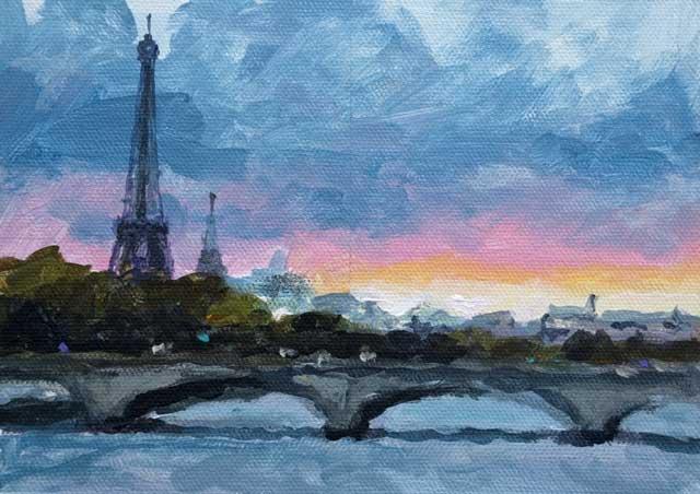 Paris Sunset Acrylic 5 X 7 Urban Landscape