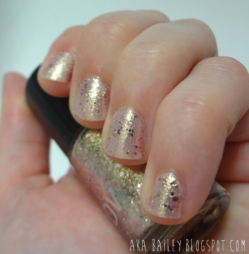 Rose gold sparkly nail polish from Maybelline