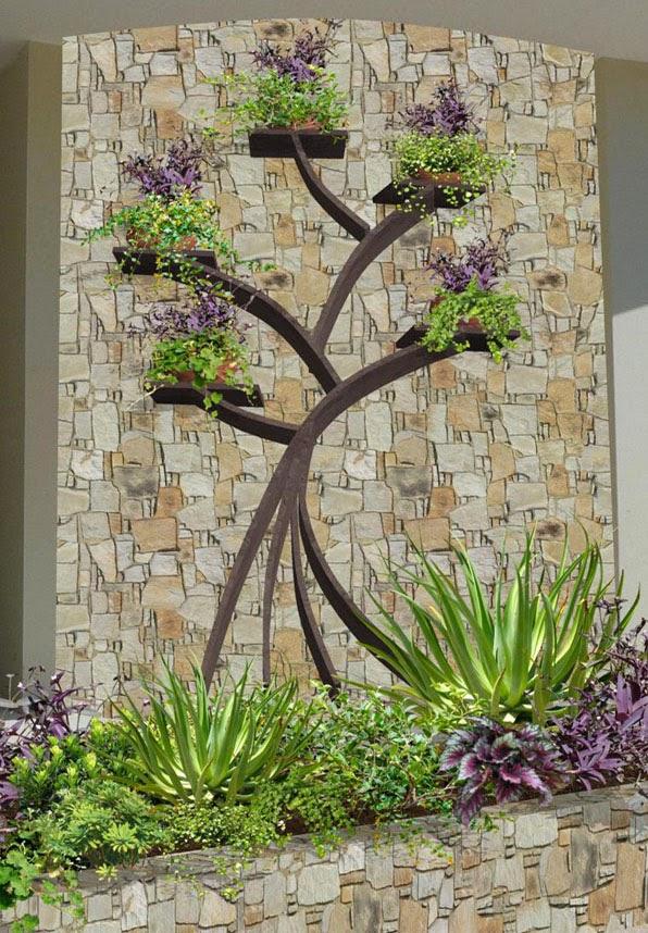 diseño 3d de jardines contemporaneos Playa del Carmen - mampara arbol de la vida