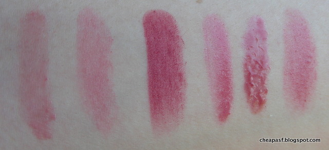 Swatches or dupes  of Fresh Sugar Tinted Lip Treatment in Rosé, Lipstick Queen Jean Queen, e.l.f. Essential Lipstick in Posh, e.l.f. Luscious Liquid Lipstick in Cherry Tart, Essence Stay With Me Gloss in Choose Me!), and Revlon Balm Stain in Honey