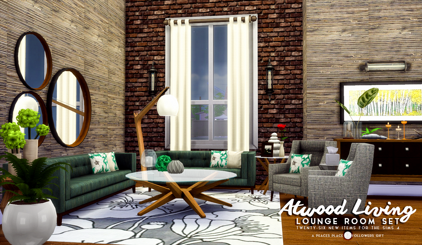 Sims 4 cc 39 s the best atwood living lounge room set by for Living room sims 4