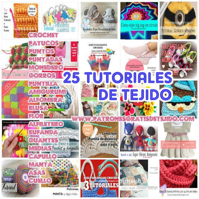 25 Tutoriales de Tejido Crochet y Dos Agujas / Colección | Crochet y ...