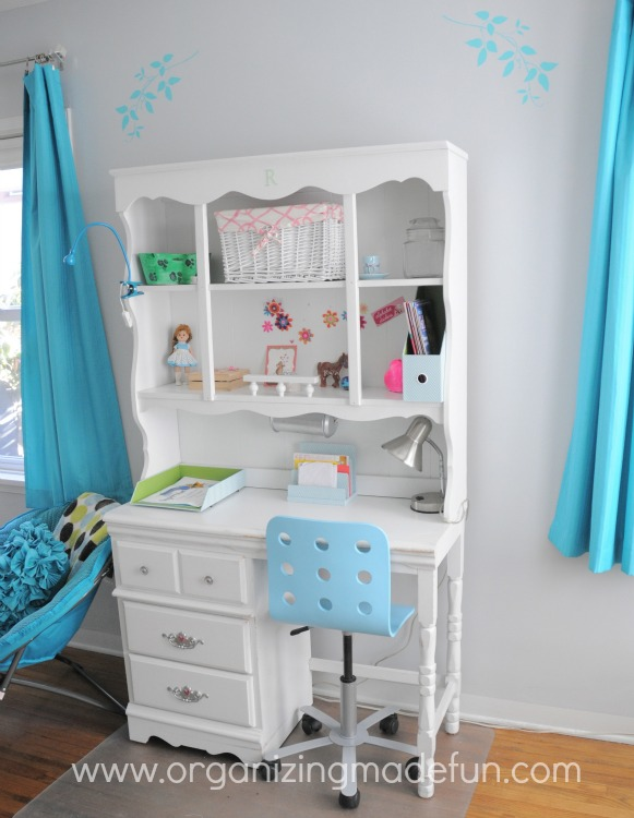girls bedroom desk. preteen girl turquoise Turquoise Girls  Room Final Reveal Organizing Made Fun