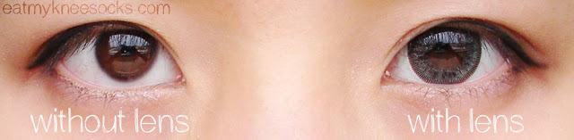 Views of my eyes with and without the T.Top Ice Flower Gray circle lenses.
