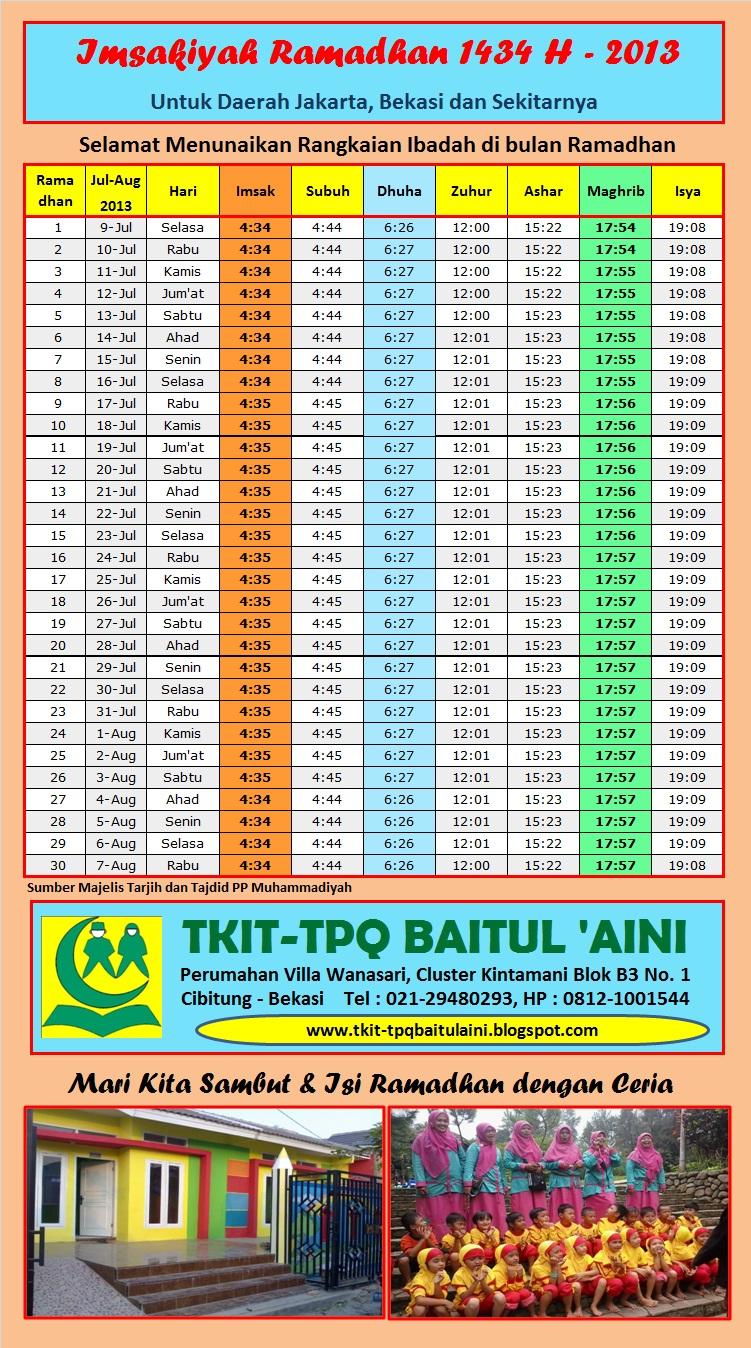 FREE Download : Imsakiyah Ramadhan 1434 H - Jadwal Puasa 2013 M untuk ...