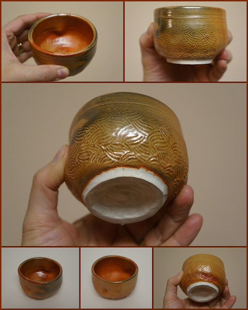 Pottery guinomi or whiskey or tea cup in Carbon Trap Shino by Lily L.