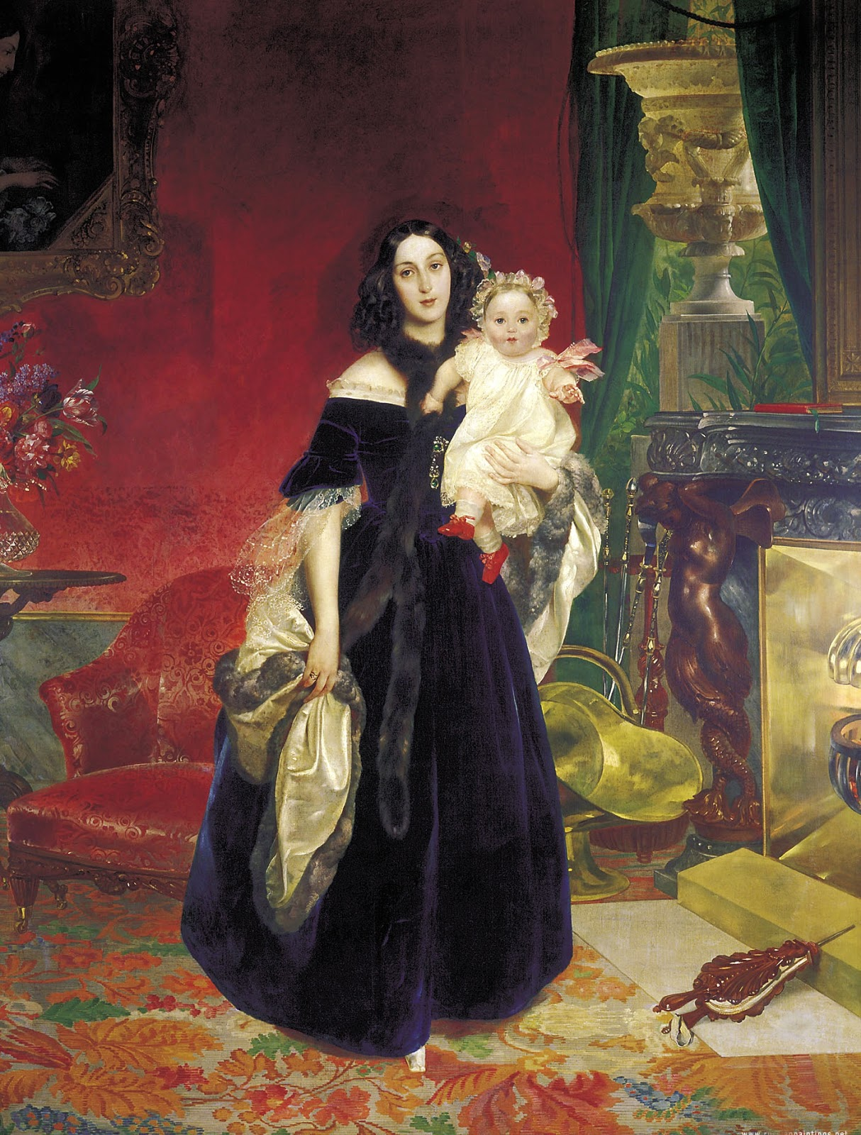 Karl   riullov  Portrait  of  the  Mariya  Arkadyevna   ek  with  Daughter C
