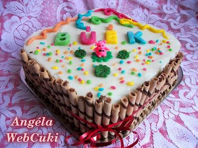 Szilveszterre elkészített csokoládés, vaníliás és kókuszos pudingtorta, rumaromába áztatott meggyel töltve.