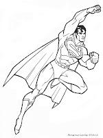 Mewarnai Gambar Sketsa Superman
