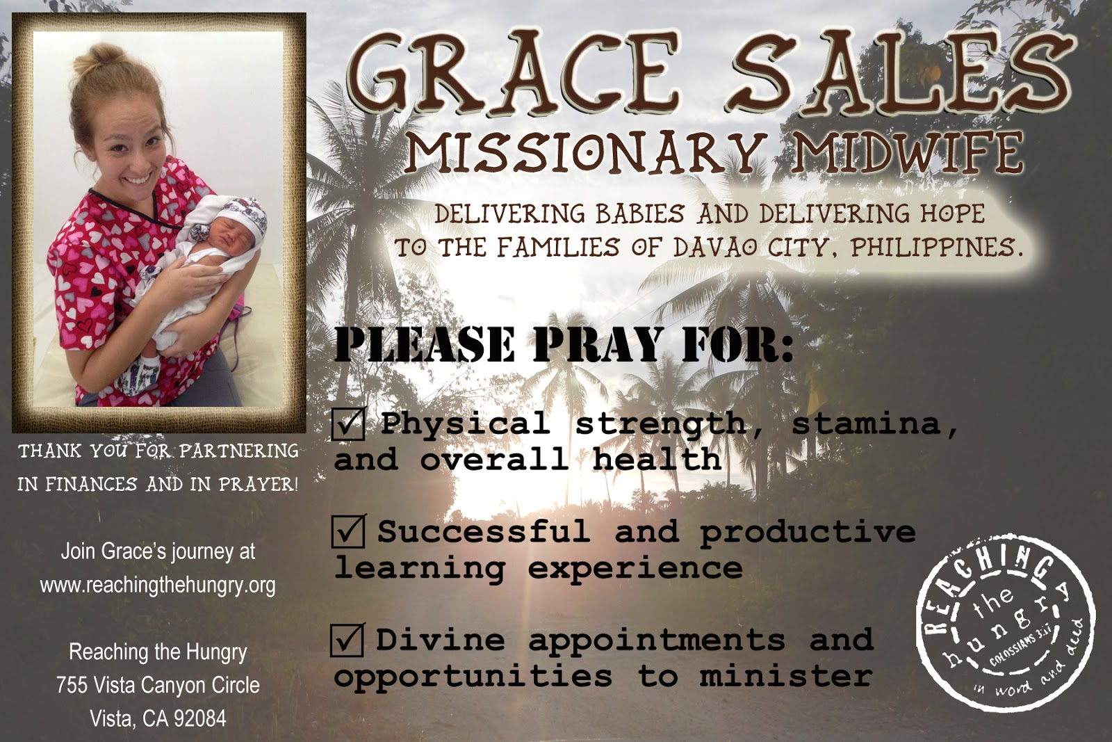 Please Partner With Gracie By Prayerfully And Financially Supporting Her
