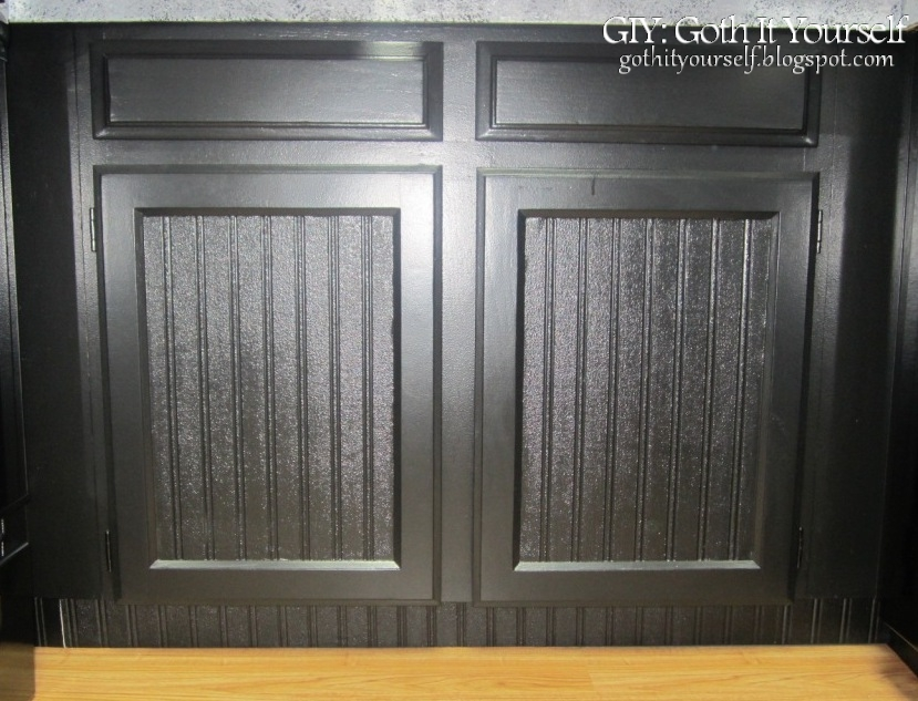 Giy goth it yourself kitchen makeover cabinet toekicks for Beadboard wallpaper on kitchen cabinets