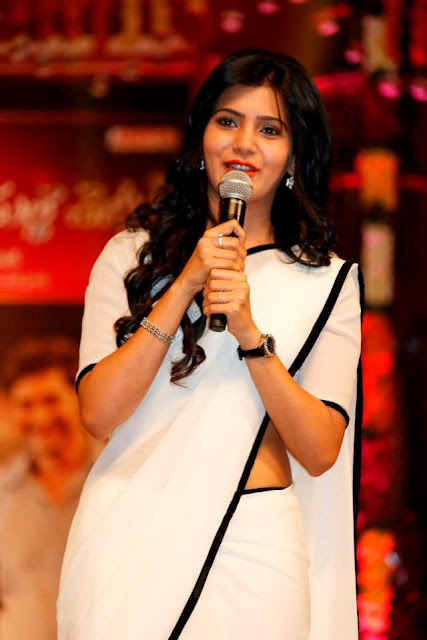 Actress Samantha in White Saree Photos at SVSC Movie Tripple Platinum Disk Function