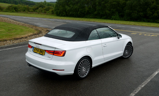 Audi A3 Cabriolet rear view, roof closed