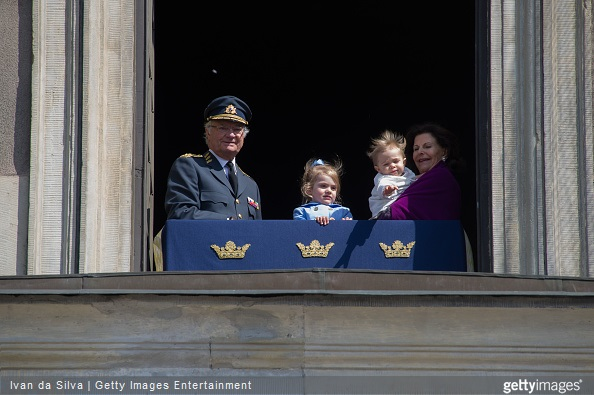 King Carl Gustaf XVI and Princess Estelle, Princess Leonore and Queen Silvia are seen during the celebration of the King's birthday at Palace Royale