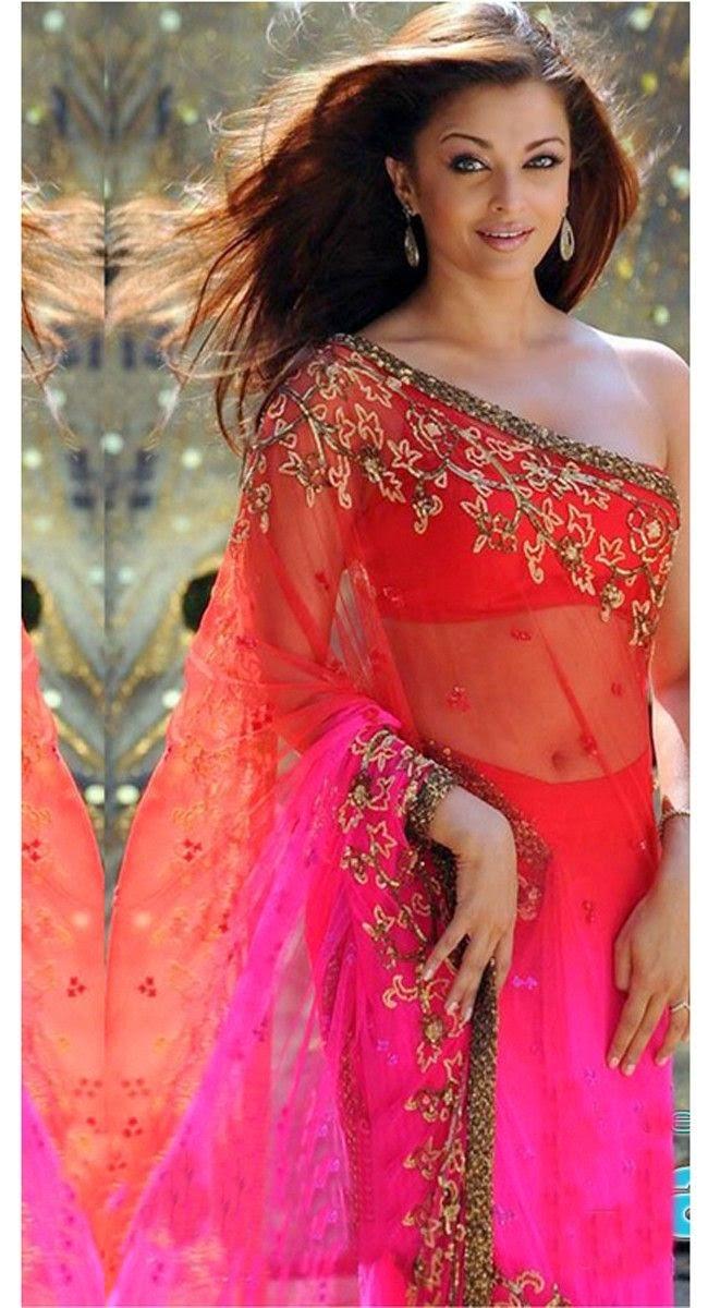 Aishwarya Rai ina Tube top blouse and a Designer Red Pink Saree with Zari Work