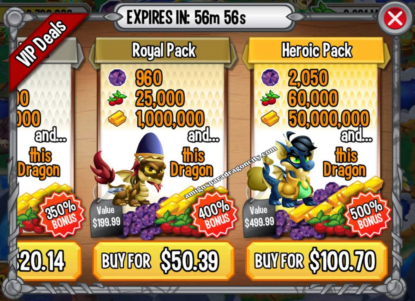 imagen de las ofertas royal pack y heroic pack de dragon city ios y android