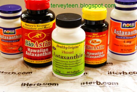 Kolmen eri valmistajan astaksantiinituotteet