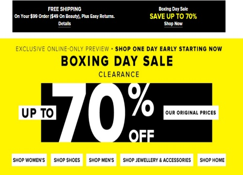 Hudson's Bay Boxing Week Exclusive Preview Up To 70% Off